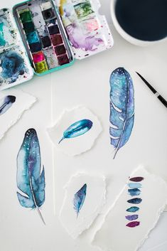 Watercolor Wednesday- How to paint a Watercolor Feather | Craftberry Bush | Bloglovin'