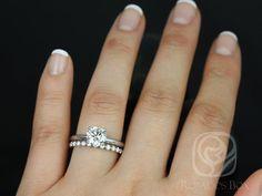 Rosados Box Alberta Barra Dia White Gold Round Fb Moissanite And Diamond Solitaire Trio Wedding Set
