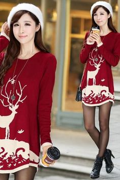 Deer Print Curved Hem Long Sweater