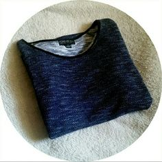 Forever 21 Blue Marled Shirt Blue & grey marked knit shirt w/leather neck trim detail  Make offers ! Forever 21 Tops Tunics