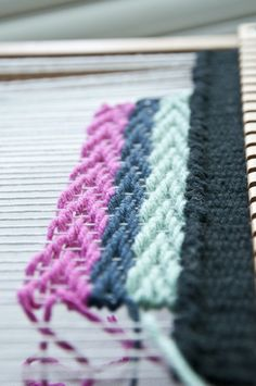 While playing with patterns I decided to do a chevron pattern weave. This is very similar to a twill except after a few rows you reverse the pattern evenly so that an arrow type shape is created. *…