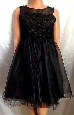 Girls Black Dress 16 Formal Gown Pageant Wedding Holiday Party Juniors XS