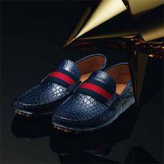 Gucci blue crocodile pebble bottom driver #unwrapgucci