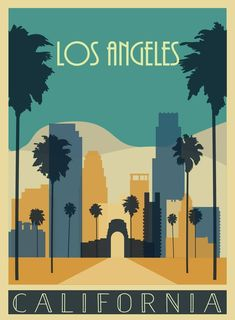 Los angeles poster los angeles print travel print wall art etsy art in 2019 Posters Decor, Art Deco Posters, Retro Posters, Reproductions Murales, Los Angeles Travel, Poster S, Poster Print, Tourism Poster, Design Poster