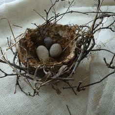 Handmade paper nest with moss and a twig frame, by graceartandantiques, via Flickr