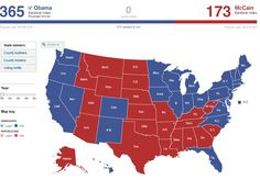 This is the final map from the 2008 election when Senator Obama (in blue) beat Senator McCain (in red) by 365 to 173 electoral college votes with 52.9% of the popular vote.