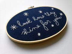 Look How They Shine For You // Coldplay Lyrics // Oval Embroidery Hoopart, Navy by threadhoney on Etsy https://www.etsy.com/listing/217171981/look-how-they-shine-for-you-coldplay