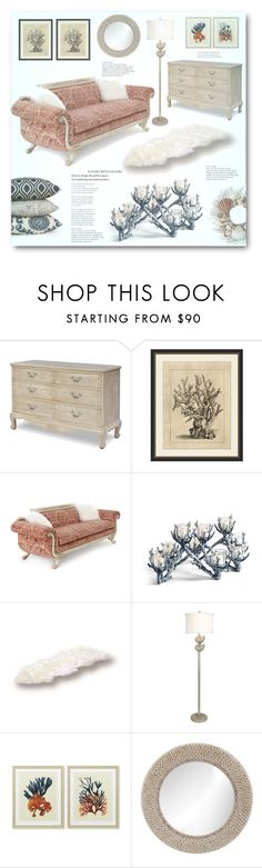 """Coral and Shell"" by jana-masarovicova ❤ liked on Polyvore featuring interior, interiors, interior design, home, home decor, interior decorating, Pottery Barn, Old Hickory Tannery, Frontgate and Bowron"