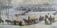 Nauvoo Temple LDS Art Historic pioneer wagons crossing the mississippi Nauvoo Temple, Temple Lds, Lds News, Temple Pictures, Lds Art, Lds Temples, World History, Photo Art, Creatures