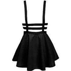 Bluetime Womens Pleated Short Braces Skirt(FBA) ($9.99) ❤ liked on Polyvore featuring skirts, mini skirts, bottoms, dresses, black, overalls, short mini skirts, pleated mini skirt, pleated skirt and short skirts