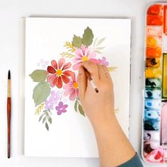 Learn to paint loose - Perfect for beginners or artists at any level. Learn to paint loose watercolor flowers with Erin of - Watercolor Paintings For Beginners, Watercolor Video, Watercolour Tutorials, Watercolor Techniques, Floral Watercolor, Drawing Techniques, Watercolour Painting Easy, Watercolor Lesson, Watercolor Beginner
