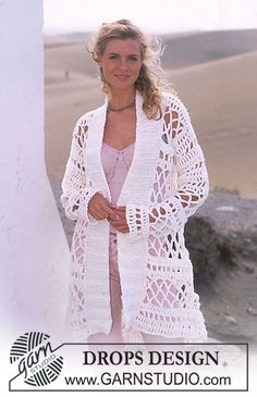 DROPS Long Crocheted Cardigan in Ice with Knit buttonband.