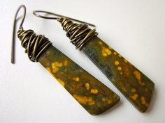 Everglade - earthy olive army green & mustard yellow spotted ocean jasper stone arrows and wire wrapped antiqued brass earring pair by LoveRoot, $40.00