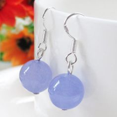 Hot sale new Style >>>> Amazing Handmade 12mm Natural Purple Jade Round Beads 925 Silver Dangle Earring