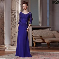New Syle 2017 Hot Sale Royal Blue Lace Knitted 3/4 Sleeves Floor Length Mother of the Bride Dresses Fashion Hot