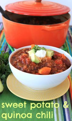 sweet potato quinoa chili {greens & chocolate}