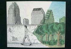 pulling back curtain illustration Man Vs Nature, Satirical Illustrations, Nature Drawing, A Level Art, Book Images, Environmental Art, Favim, Art Sketchbook, Collages