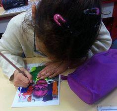 Dictado de colores en español con retratos de los alumnos.  Spanish. Art. Self-portrait.