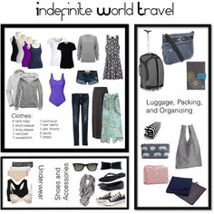 """Indefinite World Travel"" by rachael-biggerstaff on Polyvore -- My basic world travel packing list"