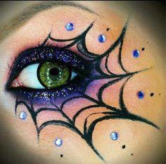 Loving the #purpleglitter with this #spiderweb look #eyemakeupart #halloweenmakeup #spiderwebmakeup #halloweeninspiration
