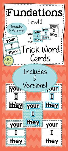 Fundations Level 1 Trick Words cards can be used on your word wall, during your Fundations lessons, at centers, or sent home for practice. There are 5 different versions of each set.Set 1: Color coded by unit with word shapeSet 2: Color coded by unit without word shapeSet 3: White background with blue word shapeSet 4: White background with black word shapeSet 5: White background without word shape