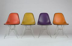 "In 1952 they introduced a striking new base to their iconic molded plastic chair. ""I was a little upset when I saw that suddenly these chairs went from having straight legs to this twisted Eiffel Tower–type base,"" Daniel Ostroff says. ""It looked like they'd sacrificed practicality for a meaningless decoration. But then I lifted it and found it was noticeably lighter. The Eiffel Tower design enabled them to shave three pounds off the old model."""