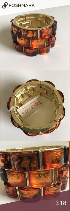 """*NWT* TOP IT OFF bracelet TOP IT OFF bracelet; gold and amber costume jewelry; 2"""" diameter; has substantial stretch TOP IT OFF Jewelry Bracelets"""