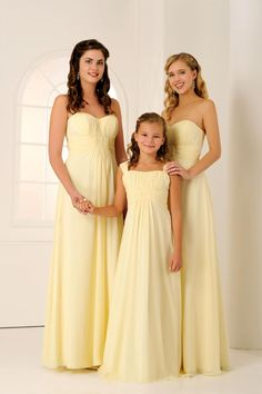 Yellow bridesmaid dresses for adults and younger bridesmaids by Veromia