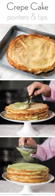 No fancy supplies or decorating skills are needed to make this luscious dessert, but the result is unusual, impressive -- and totally delicious. Köstliche Desserts, Delicious Desserts, Yummy Food, Cupcakes, Cupcake Cakes, Cupcake Recipes, Dessert Crepes, Crepes And Waffles, Crepe Cake