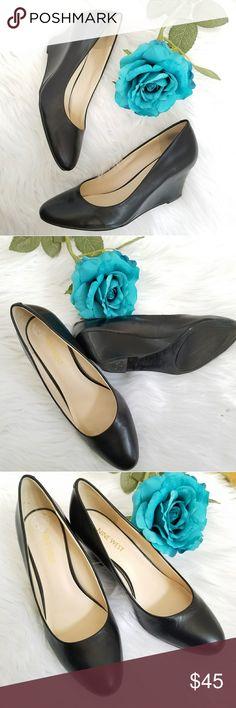 "Nine WestMela Leather Womens Wedge Pump Black leather wedge pumps in great condition.  2.5"" heel. Nine West Shoes Wedges"
