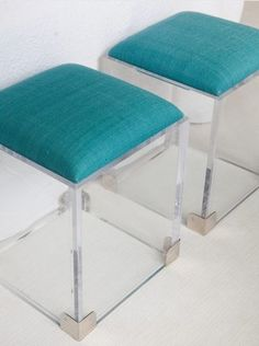Lucite ottomans with storage inside