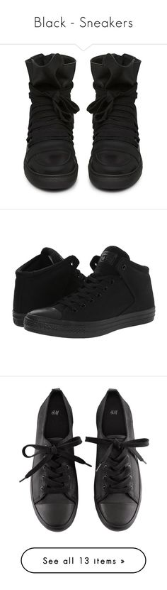 """""""Black - Sneakers"""" by zakhx ❤ liked on Polyvore featuring black, sneakers, shoes, shoes - sneakers, trainers, high top sneakers, black high top sneakers, high top trainers, high top shoes and black hi top sneakers"""