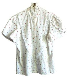 vintage white and red rose floral patten white lace trimmed high neck short sleeve top shirt prairie western cowgirl... available on ETSY by searching VELVET METAL VINTAGE or WWW.VELVETMETALVINTAGE.COM