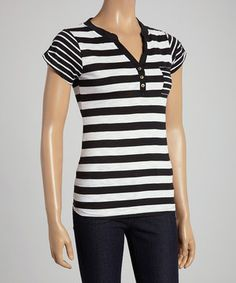 Black & White Stripe Henley by Cherry Stix .... just make the buttons silver