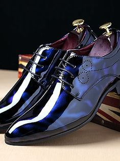 Men's Printed Oxfords Patent Leather Fall / Winter Oxfords Black / Royal Blue / Burgundy / Party & Evening / Lace-up / Party & Evening / Comfort Shoes Loafers Online, Shoes Online, Prom Shoes, Men's Shoes, Shoes Men, Oxfords Negros, Formal Shoes, Casual Shoes, Bleu Royal