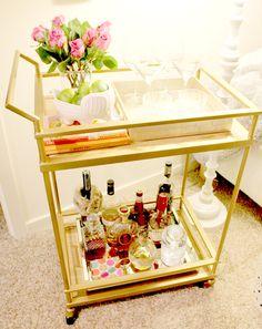 Bar Cart Styling #barcart #gold  http://thetribemagazine.com/style-bar-cart/