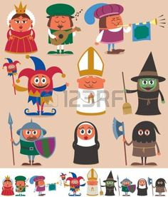 Buy Medieval People 2 by Malchev on GraphicRiver. Set of 9 cartoon medieval characters. Below are the same characters customized for white background. No transparency . Cartoon People, Illustration, Professional Business Cards, Middle Ages, Clipart, Painted Rocks, Game Art, Fairy Tales, Character Design