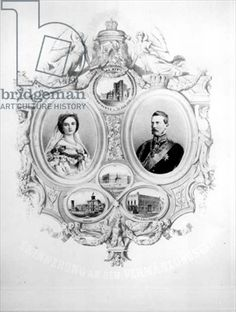 Souvenir of the Wedding of Victoria, the Princess Royal (1840-1901) and Crown Prince Frederick William of Prussia (1831-88) 25th January 1858 (engraving) (b photo)