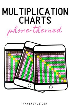 Spruce up your multiplication math centers with these personal phone-themed multiplication charts. The charts work great for intervention students and students that struggle with multiplication fact fluency. 4th Grade Math Worksheets, 2nd Grade Math, Math Notebooks, Interactive Notebooks, Multiplication Chart, Multiplication Activities, Math Activities, Common Core Math Standards, Eureka Math