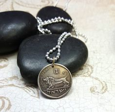 Coin Jewelry - Vintage Israel COIN NECKLACE with roaring Lion of Megiddo - Israel coin pendant - man gift - woman - Hanukkah __________ Beautiful soft patina on this vintage half shequel coin from Israel featuring the Roaring Lion of Megiddo  -on a 25 silverplated ball chain or choose 20 heavier mans silverplated or stainless steel ball chain or black leather cord -really cool stylized roaring lion, would be a great gift for a Leo birthday -unisex -approx. 20 mm diameter (small coin, about…