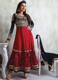Red Gauhar Khan Ankle Length Anarkali Suit