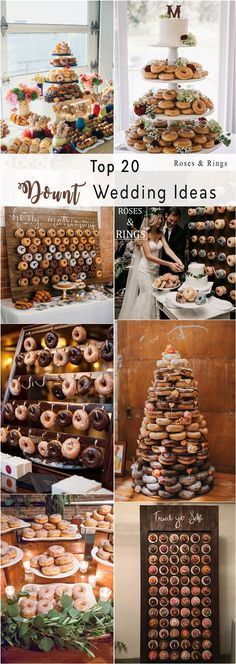 Donut tower and donut wedding wall ideas
