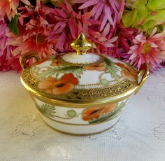 Antique RC Nippon Porcelain Covered Butter Dish Hand Painted Poppy Gold Beading   eBay