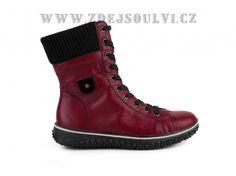 66845dc453d Rieker - Kotníkové zimní šněrovací boty se zipem a ovčí vlnou   červená  qldb473k0kpf