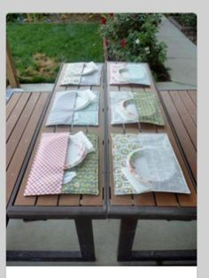 Cut one placemat in half and sew it to the other making a pocket for your eating supplies! On breezy days, they won't fly either!