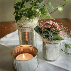Dukning med konservburkar | make the table with tins