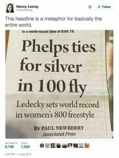 "it should've read: ""AMERICAN SETS WORLD RECORD!!  while gold medalist only gets a silver for a mere 100m"""