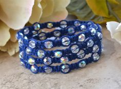 Blue Chinese Crystal Wrap Bracelet By Ourgardenofbeaden On Etsy, $27.00