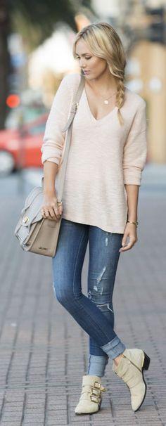 Blush V-neck Sweater