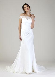 Off the shoulder, lace wedding gown from Kelly by Kelly Faetanini. http://www.kellyfaetanini.com/kellybykellyfaetanini/cayko5lto7h1wj4hvoevesoxix8c27